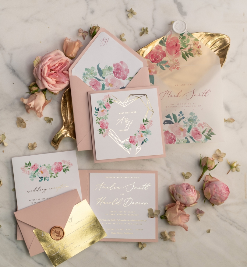 The Most Beautiful Affordable Gold Wedding Invitations Blog