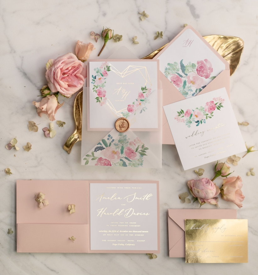 Glamorous Wedding Invitations: The Most Beautiful Affordable Gold Wedding Invitations