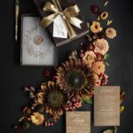 Wedding invitations  in brown velvet box