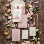 Wedding cards with minimalist leaf branch