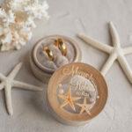 wedding beach ring Box, engraved wedding ring box  • personalised rustic ring box • real Starfish luxury ring box