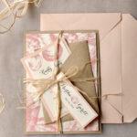 Beach peach Wedding invitations Seashells Wedding Invites destination wedding Cards with tag