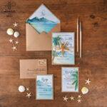 Tropical beach Wedding Invitations, Starfish Watercolor Seaside Wedding Invites, Mexico Wedding Cards