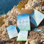 Watercolor beach Wedding Invitations, Minimalist Watercolor Seaside Wedding Invites, Greek Wedding Cards wih twine and wax seal