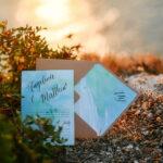 Watercolor beach Wedding Invitations, Minimalist Watercolor Seaside Wedding Invites, Italian Wedding Cards