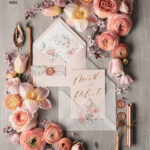 Elegant wedding invitation Suite, blush Pink  Gold Wedding Cards, Floral Romantic Wedding Invites with vellum belly band and wax seal