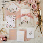 Affordable wedding invitations , Elegant wedding Invitation Suite with  Pink Bow , Blush Floral Wedding Cards