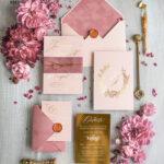 Custom Gold wedding invitation suite, Velvet Wedding Blush Invites, Glamour Wedding Invitations