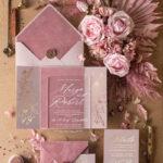 Luxury Velvet wedding Invitations, Clear Pink  Indian  Wedding Invites,  Glamour Elegant Wedding Cards