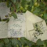 Green Eucaliptus wedding cards, pistachio wedding set, greenery stationery