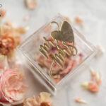 Clear Acryl wedding bearers, Gold glam wedding ring box  • handmade ring bearer box • Mirror Gold luxury ring box