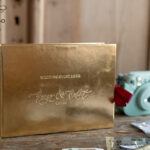 Presonalised Wedding Guest Book, Gold Gamour Leather  Instant Photo Book • BohoGlam Elegant Instax Wedding Photo Guestbook