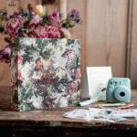 Presonalised Wedding Guest Book, Velvet Personalized Wedding Album •  Vintage Flowers Photo Booth Book