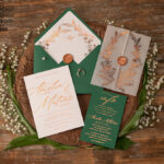 Elegant Green wedding invitation Suite, Spring Gold Wedding Cards, gold Leaves Romantic Wedding Invites, Greenery vellum Wrapping