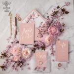 Bespoke wedding invitations gold colour palette stationery
