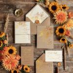 Rustic wedding invitations, Gold Sunflowers Wedding Invites, Rustic Glam Golden Wedding Cards