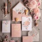 Elegant Blush  wedding invitation Suite, Luxury Arabic Gold Wedding Cards, Pocket Wedding Invites with Blush Flowers ang Gold Tassel