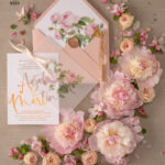 Floral Rose Gold wedding invitations, Blush Roses  Vellum Wedding Invites, Luxory Modern Wedding Cards