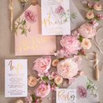 Peony Rose Gold wedding invitations, Blush Roses  Vellum Wedding Invites, Luxory Peonies Wedding Cards