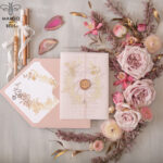Elegant wedding invitation Suite, blush Pink  Gold Wedding Cards, gold  Floral Romantic Wedding Invites  vellum Wrapping  and wax seal