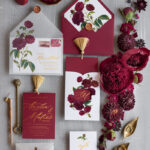 Marsala wedding invitation Suite, Luxury Indian Red and Gold Wedding Cards, Pocket Wedding Invites with gold Tassel