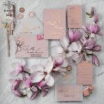 Spring Magnolia Flowers wedding invitations,  Gold Vellum Wedding Invitation Suite, Pink Sakura Wedding Stationery