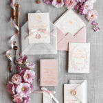 Elegant wedding invitation Suite, Floral Gold Wedding Cards, gold Pink Wedding Invites with Bow
