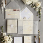 Elegant wedding invitation Suite, Ivory  Gold Wedding Cards, gold Leaves Romantic Wedding Invites, Leaf vellum Wrapping