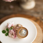 wood wedding ring box  • rustic wedding rings box • real flowers in resin luxury ring box