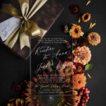Luxury wedding invitation in Box, Velvet Vellum Wedding Invitations, Brown clear Wedding Crads