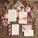Bespoke wedding invitations, romantic elegant Wedding  invites, vintage Flowers blush pink  Wedding Cards