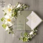 Stylish clear green wedding invitation Monogram, sage green invitation suite, pistachio moss green stationery