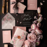 Stylish wedding invitation elegant classic perspex invites with vellum and spring flowers