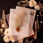 invitations in a box satin ribbon invitation with pampass grass