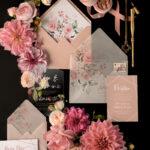 Wedding invitations online fairytale blush pink calligraphy