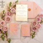 Personalised wedding invitations cards luxury gold mirror acrylic