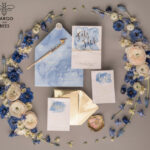 Personalised wedding invitations gold watercolor baby blue