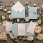 Personalised invitations for wedding silver baby blue colour palette