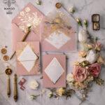 Luxory gold Wedding Invitations,  Vinatge Roses Elegant Wedding Stationery,  Pink Elegant Wedding Invitations Suite