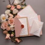 Handmade wedding invitations elegant gold blush colour theme