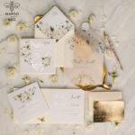 Luxory gold Wedding Invitations,  Ecru Roses Elegant Wedding Stationery,  Ivory Elegant Wedding Invitations Suite